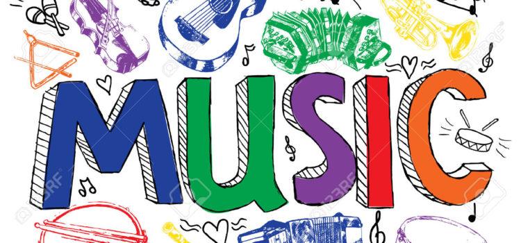 32133438-Jazz-rock-musique-classique-instruments-de-musique-couleur-croquis-dessin-la-publicit-de-fond-affich-Banque-d'images